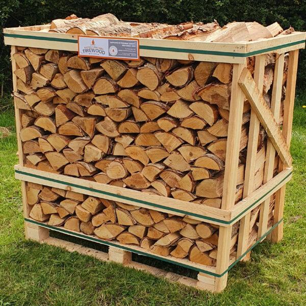 Kiln dried ash birch logs crate